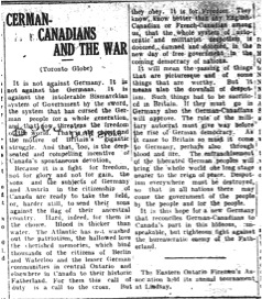 German Canadians and the War (7 August 1914)