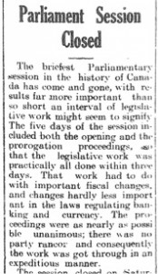 Parliament Session Closed (22 August 1914)