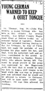 Young German Warned to Keep Quiet (10 August 1914)